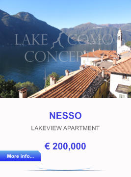 NESSO LAKEVIEW APARTMENT € 200,000 More info... More info...